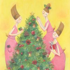 「新版 おしゃれなピアノで楽しむ クリスマス・ソング」 (株式会社 全音楽譜出版社)表紙イラスト